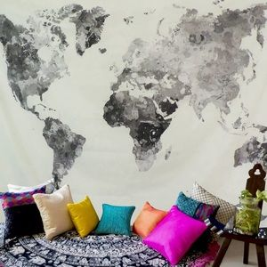 White and Grey WorldMap Wall Hanging Tapestry